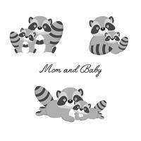 Conjunto de pequeno guaxinim e mãe. Desenhos animados animais da floresta.