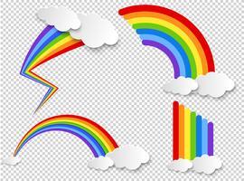 Arco-íris com nuvem no fundo transparente vetor