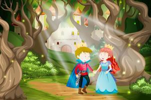Príncipe e princesa no mundo de fantasia vetor