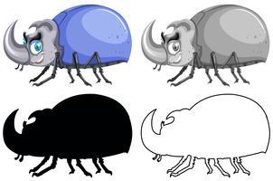 Conjunto de bug de besouro vetor