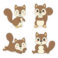 esquilo bonito em pose diferente. Ilustração vetorial vetor