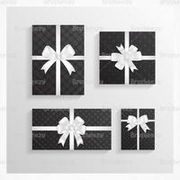 Pacote de vetores de presente de Natal com bolinhas pretos