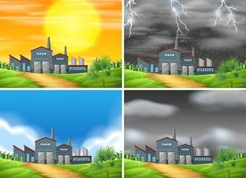 Conjunto de fábrica em clima diferente vetor