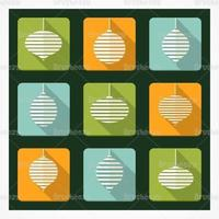 Pacote retro de ícones vetoriais de ornamento de natal