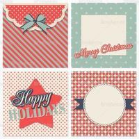 Pacote retro do vetor do cartão de Natal