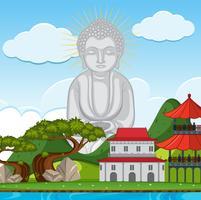 Estátua de Buda no templo vetor