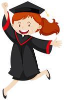 Mulher feliz, em, vestido graduação vetor