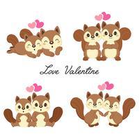 Conjunto de esquilos de casal apaixonado por dia dos namorados.
