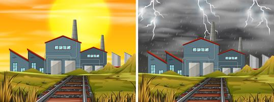 Fábrica de construção de clima diferente vetor