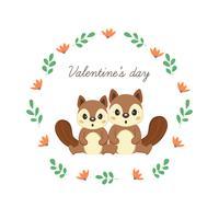 Feliz dia dos namorados cartão com esquilos bonitos no amor.