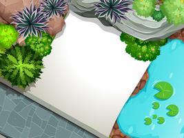 Uma vista aérea do modelo de jardim vetor