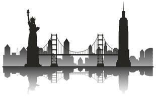 Marco de viagens de silhueta de Nova York vetor