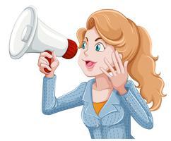 mulher, speeking, em, megafone vetor