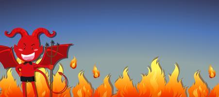 Diabo vermelho com fogo vetor