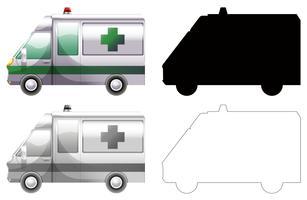 Conjunto de carro de ambulância vetor
