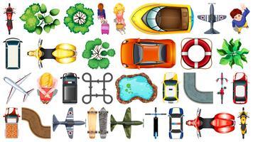Conjunto de vista superior de vários objetos vetor