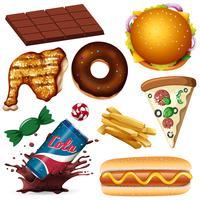 Um conjunto de alimentos não saudáveis vetor