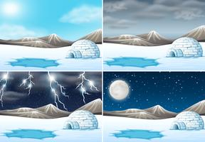 Conjunto de clima diferente de paisagem de inverno vetor