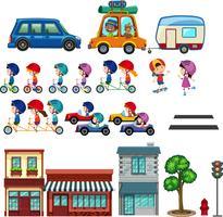 Conjunto de crianças urbanas