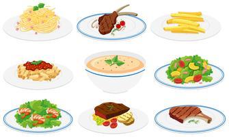 Conjunto de pratos saudáveis vetor