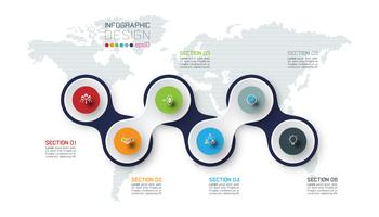 Círculo ligado com infográficos de ícone de negócios no fundo do mapa mundo. vetor
