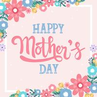 Feliz dia das mães mão Lettering Vector caligrafia letras - vetor