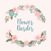 Fundo de fronteira mão desenhada flor convite - ilustração vetorial