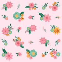 Mão desenhada flor padrão sem emenda - ilustração vetorial