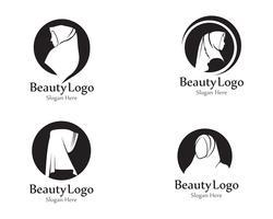 logotipo de beleza negra de vector hijab