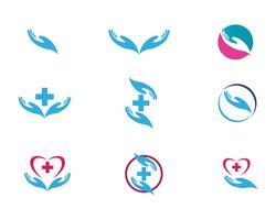 Hand help logo and symbols ícones de modelo vetor
