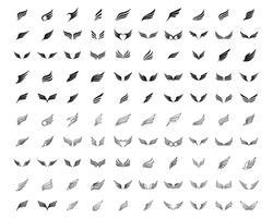 Conjunto de modelo de negócio de logotipo e símbolo de asa 100 vetores de linha