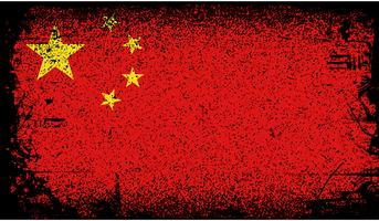 Bandeira do grunge de China vetor