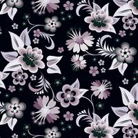 Vector conjunto de cantos florais em fundo preto