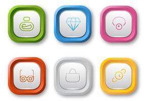 Pacote de vetores de botão Web colorido