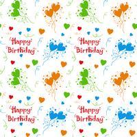 Feliz aniversário colorido padrão de fundo vetor