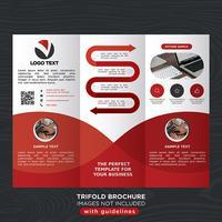 Folheto de dobra de negócios com três dobras vermelho vetor