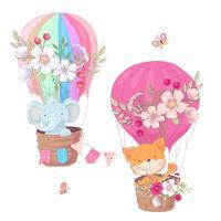 Grupo de animais bonitos dos desenhos animados raposa e clipart das crianças do balão do elefante. vetor
