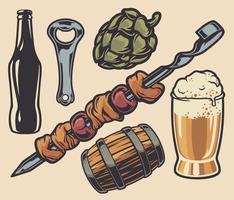 Conjunto de elementos sobre o tema de churrasco e cerveja vetor