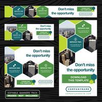 Coleção de Banner de publicidade verde vetor
