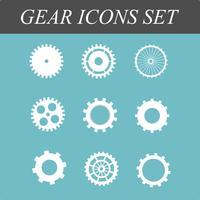 Engrenagens e engrenagens planas Icons set na ilustração em vetor conceito design no fundo azul isolado