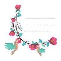 Lindo modelo de bloco de notas com design de pássaro e flor vetor