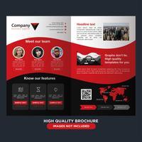Folheto de dobra de negócios preto vermelho