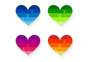 Pacote de vetores lindo coração brilhante