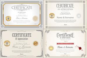 Conjunto de design de certificado de conquista com selos vetor