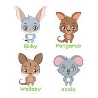 Conjunto de espécies animais marsupiais