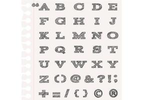 Vetores de alfabeto esboçado e pacote de vetores de pontuação