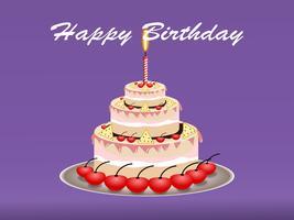 Conceito de design feliz aniversário bolo. ilustração vetorial vetor