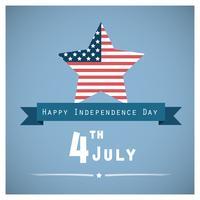Saudação do dia da independência com a bandeira dos EUA em forma de estrela