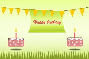 O verde e o bolo do tema do cartão do cartaz do feliz aniversario para crianças projetam o vetor e a ilustração.