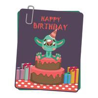 Cartão de aniversário com monstro fofo vetor